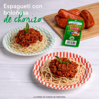 Espagueti con boloñesa de chorizo